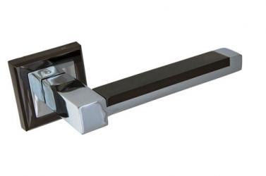 Ручка фалевая на квадратной накладке Черный никель / хром 289BH/PC